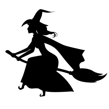 Vector illustrations of Halloween silhouette witch with hat on broom