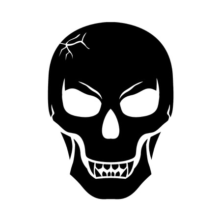 Vector illustrations of Halloween scary fanged skull Иллюстрация