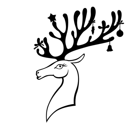 Vector illustrations of Christmas deer with horns decorated with Christmas baubles