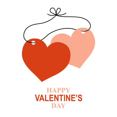 Vector illustrations of Valentines day greeting card with two drawstring hearts
