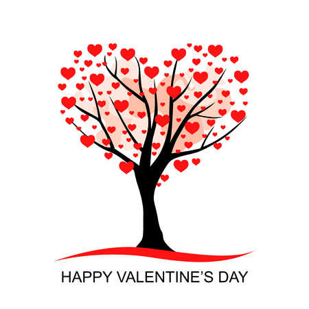 Vector illustrations of Valentines day greeting card with hearts tree Иллюстрация