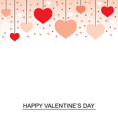 Vector illustrations of Valentines day greeting card with hanging hearts