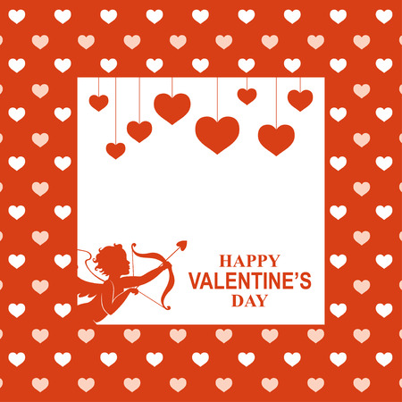 Vector illustrations of Valentines day greeting card with hanging hearts and cupid