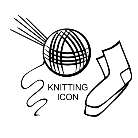 Vector illustrations of tangle of thread and five knitting needles icon for socks Illustration