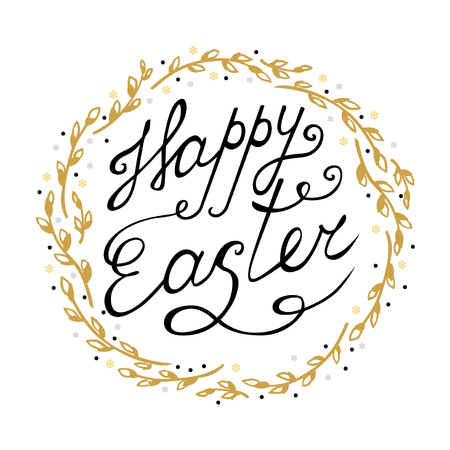Vector illustrations of Easter greeting card with decorative willow wreath