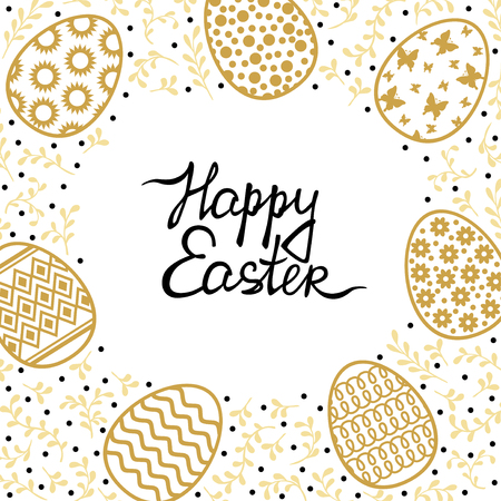 Vector illustrations of Easter card with egg and palm tree branches in gold color