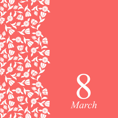 Vector illustrations of 8 March congratulatory card with tulip vertical ornament on pink background Иллюстрация