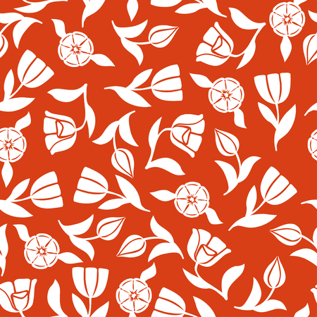 Vector illustrations of tulips flowers pattern seamless ornament on red background