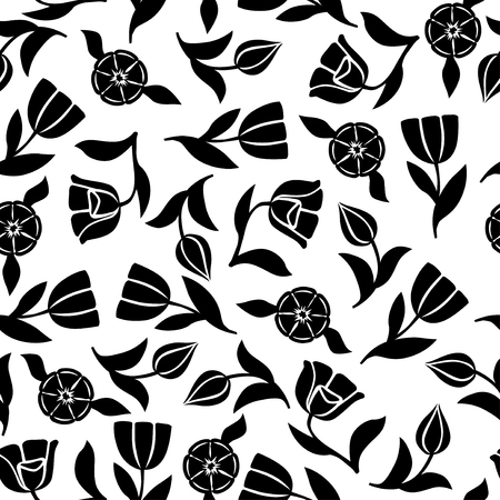 Vector illustrations of tulips flowers pattern seamless ornament
