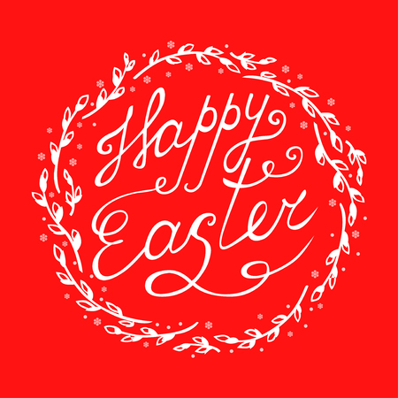 Vector illustrations of Easter greeting card with decorative willow wreath on red background