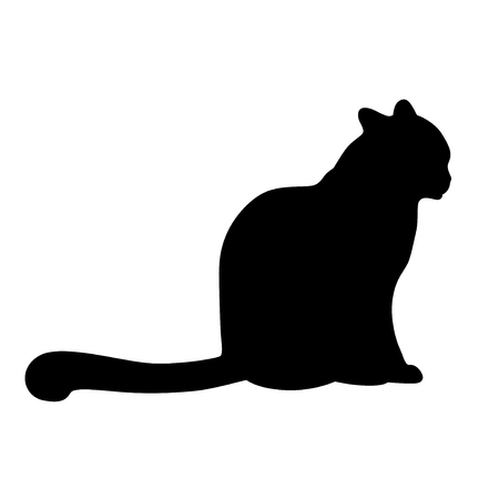 Vector illustrations of silhouette of a cat sitting stretching out its tail