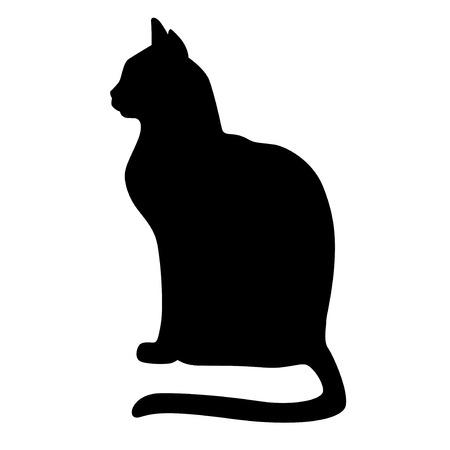 Ilustracje wektorowe sylwetki siedzących czarnych wdzięku kotów Ilustracje wektorowe
