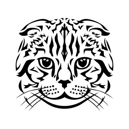 Vector illustrations of Scottish Fold cat stilized head