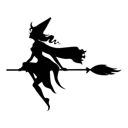 Ilustraciones vectoriales de silueta de bruja con sombrero en mosca de escoba
