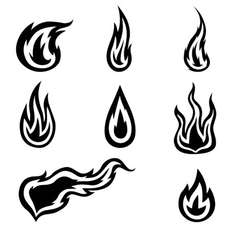 Vector illustrations of fires icon set