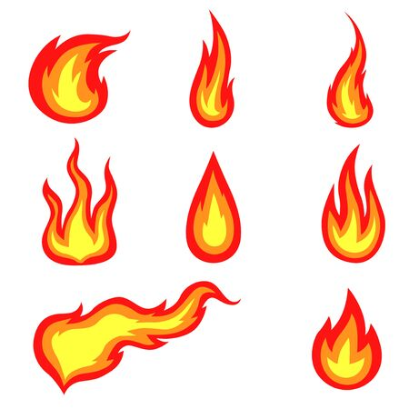 Vector illustrations of colors fires icon set