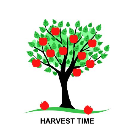 Vector illustrations of harvest time card with Apple tree Иллюстрация