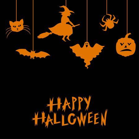 Vector illustrations of Halloween symbols greeting card on black background Иллюстрация