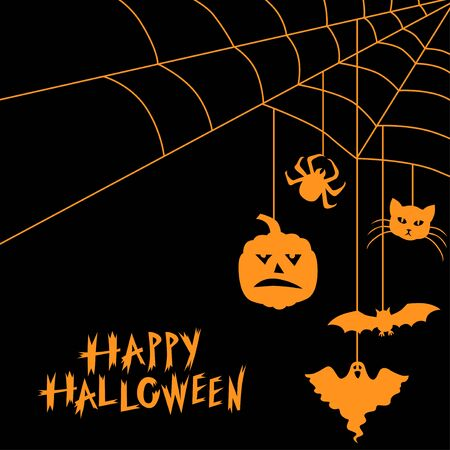 Vector illustrations of Halloween symbols and web greeting card on black background