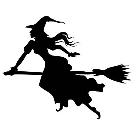 Ilustraciones vectoriales de bruja de silueta de Halloween con sombrero en mosca de escoba Ilustración de vector