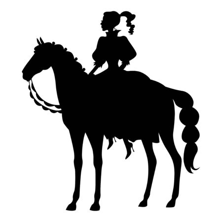 Vector illustrations of silhouette of a lady girl riding a horse