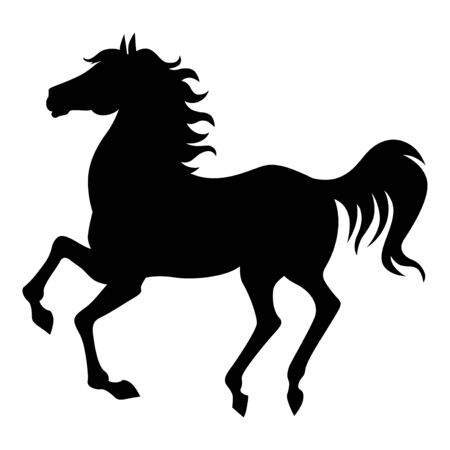 Vector illustrations of silhouette of a galloping arab horse