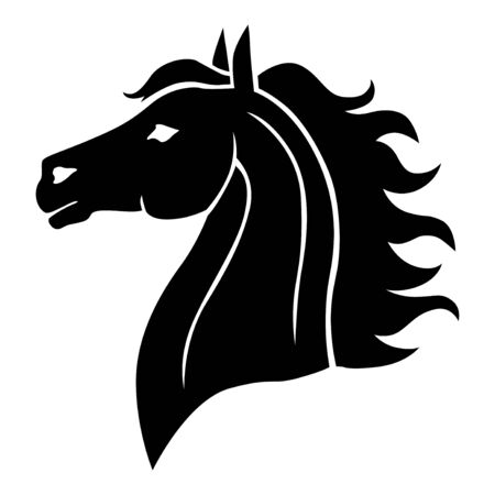 Illustrations vectorielles de têtes de chevaux silhouette de profil