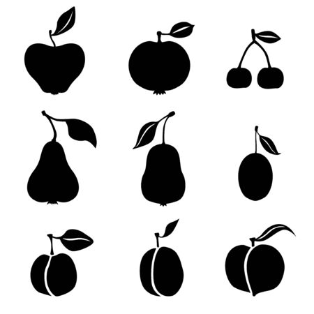 Vector illustrations of silhouette of fruits icon set Иллюстрация