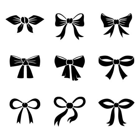 Vector illustrations of cartoon silhouette of bow icon set