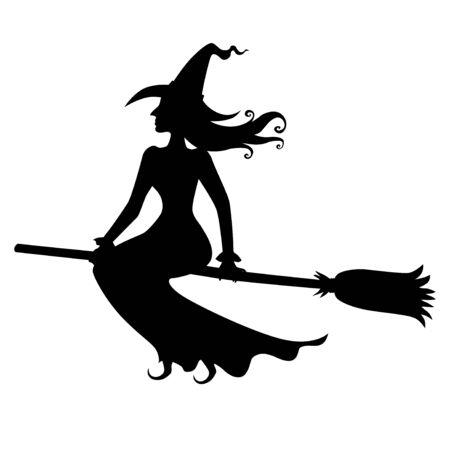 Ilustraciones vectoriales de silueta bruja de Halloween