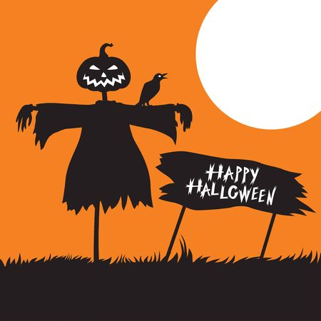 Vector illustrations of Halloween card with scarecrow and greeting sign