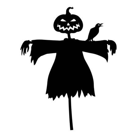 Vector illustrations of Halloween scarecrow with a head pumpkin and raven
