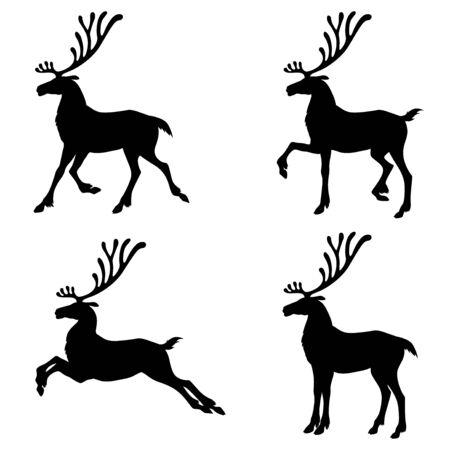 Vector illustrations of Christmas deer silhouette set