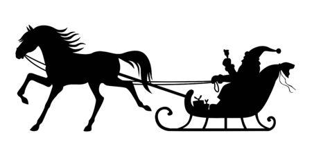 ilustracje przedstawiające sylwetkę Świętego Mikołaja jadącego saniami zaprzężonymi w konie Ilustracje wektorowe
