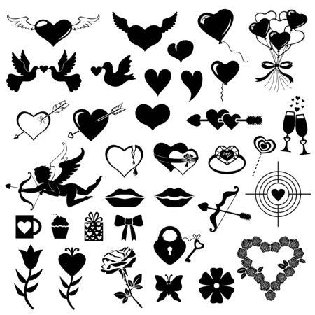 illustration of Valentines day symbol set Ilustración de vector