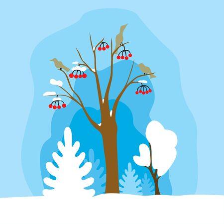 Vector illustration of winter landscape with rowan