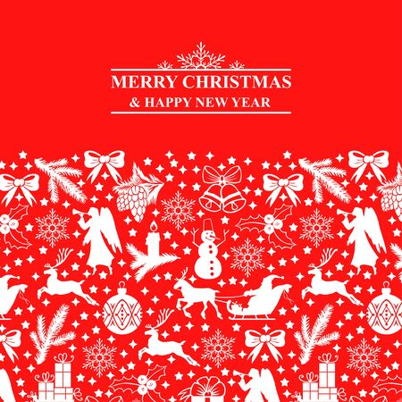 Vector illustrations of Greeting card with Christmas symbols on red background Archivio Fotografico - 134953565