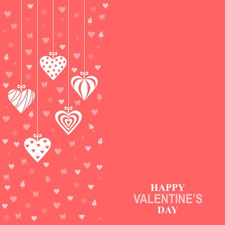 Vector illustration of Valentines day card with hanging decorative hearts on pink background