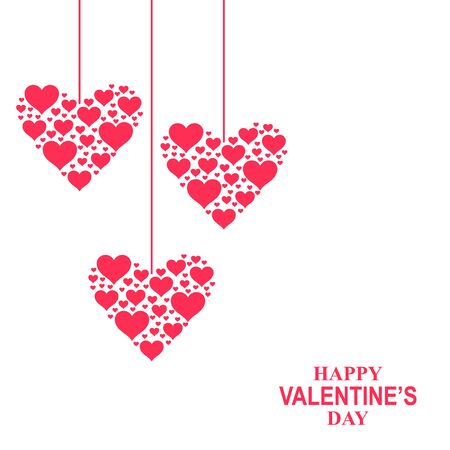 Vector illustration of Valentines day card with hearts of hearts hang Illustration