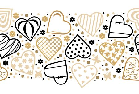 Vector illustration of Decorative hearts horizontal pattern seamless for valentines day. Hearts pattern brush