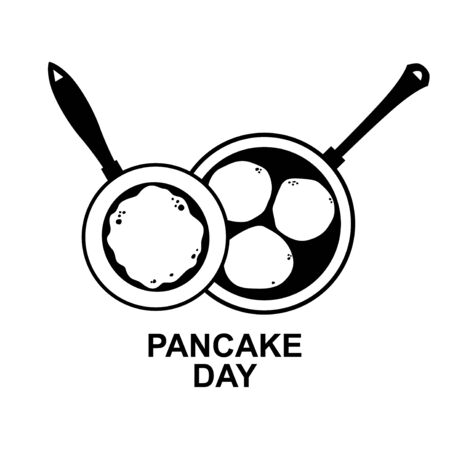 Vector illustrations of Pancake day icon with large and small pan with pancakes and fritters