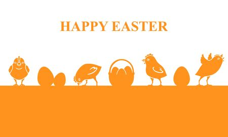Vector illustrations of Easter banner with chickens and eggs