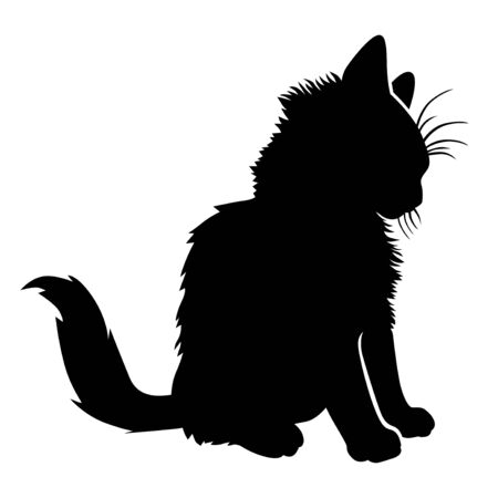 Vector illustrations of silhouette of a little kitten sitting 일러스트