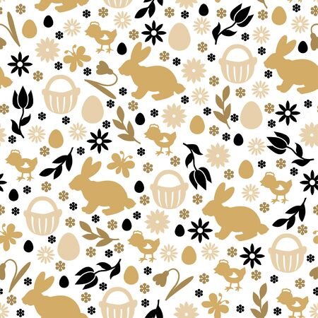 Illustrations of Easter symbols pattern seamless