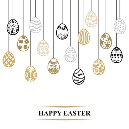 Vector illustrations of Easter card with decorative contour eggs hang