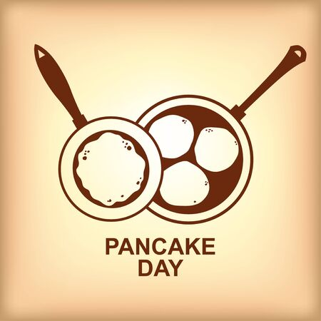 Vector illustrations of Pancake day icon with large and small pan with pancakes and fritters on brown background