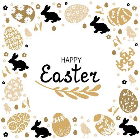 Ilustraciones vectoriales de tarjeta decorativa de Pascua Ilustración de vector