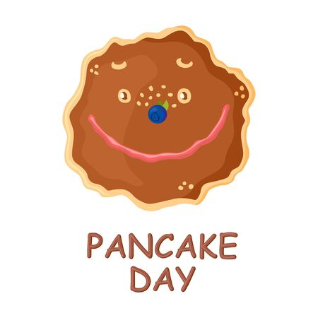 Vector illustrations of Pancake day a card with cartoon cute pancake Vettoriali