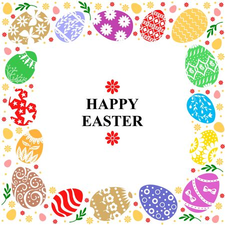 Vector illustrations of Easter card with decorative frame of  color eggs Vettoriali