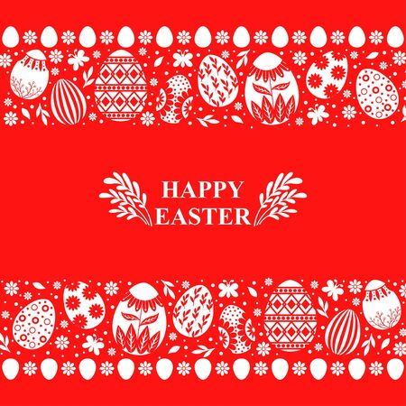 Vector illustrations of Easter card with decorative eggs ornament on red background